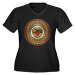 Aztec-ish De Women's Plus Size V-Neck Dark T-Shirt