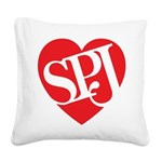 Red SPJ Love Square Canvas Pillow