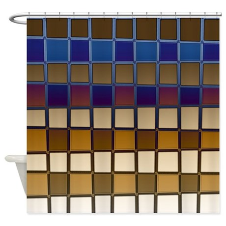 brown and blue shower curtain by coppercreekdesignstudio. Black Bedroom Furniture Sets. Home Design Ideas