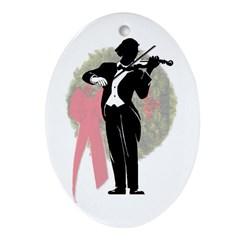 Violinist Christmas Oval Ornament