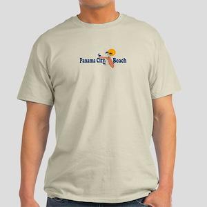 Panama City Beach - Map Design. Light T-Shirt