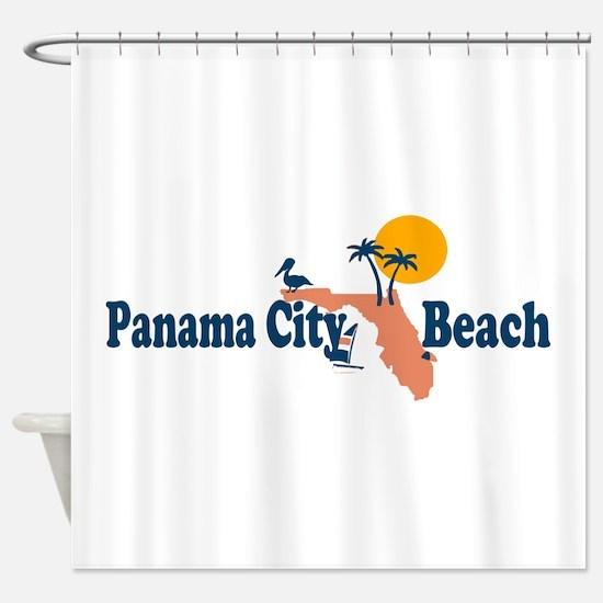 Panama City Beach - Map Design. Shower Curtain