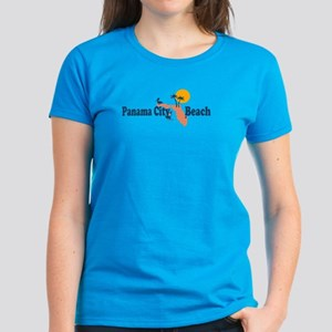 Panama City Beach - Map Design. Women's Dark T-Shi