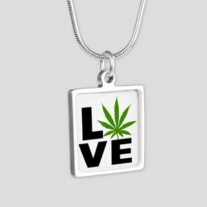 I Love Marijuana Silver Square Necklace
