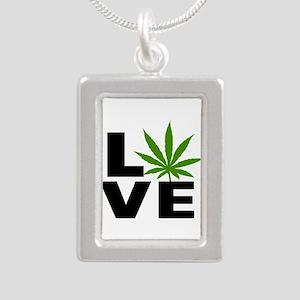 I Love Marijuana Silver Portrait Necklace