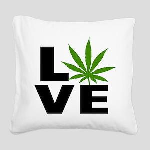 I Love Marijuana Square Canvas Pillow