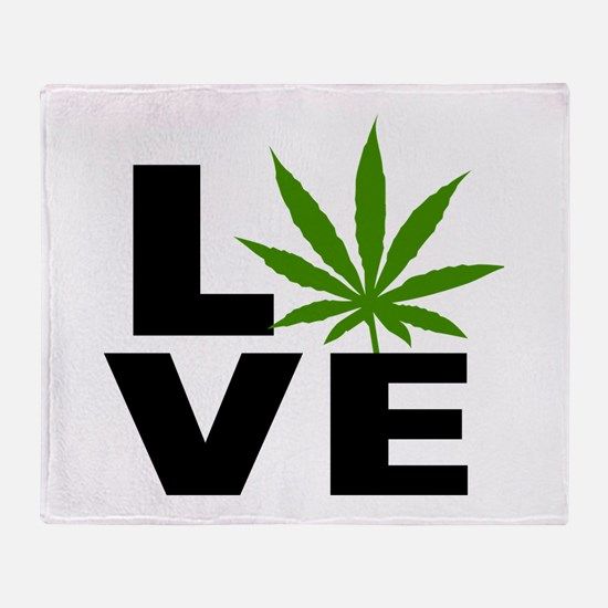 I Love Marijuana Throw Blanket