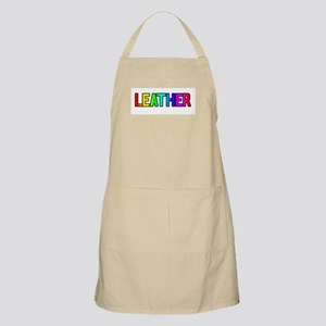 LEATHER RAINBOW TEXT BBQ Apron