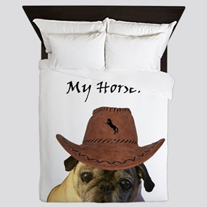 Funny Cowboy Pug Dog Queen Duvet