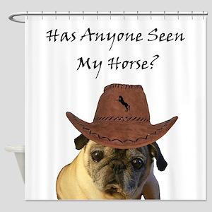 Funny Cowboy Pug Dog Shower Curtain