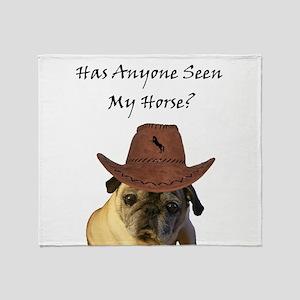 Funny Cowboy Pug Dog Throw Blanket