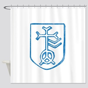 Pretty blue christian cross 4 L f Shower Curtain