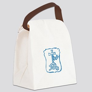 Pretty blue christian cross 4 L h Canvas Lunch Bag