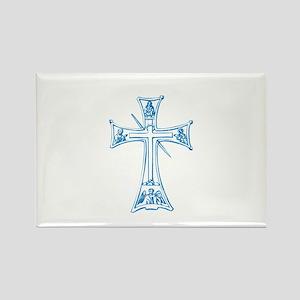 Pretty blue christian cross 4 L v Rectangle Magnet
