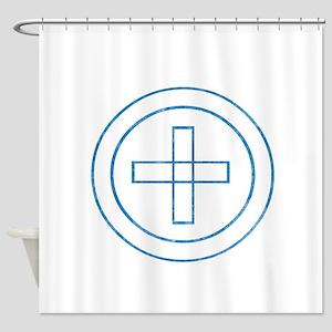 Pretty blue christian cross 4 U F Shower Curtain