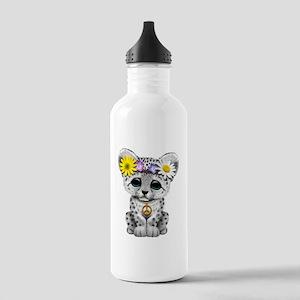 Cute Hippie Snow leopard Cub Water Bottle