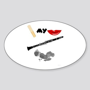 Reed My Lips Clarinet Rocks Oval Sticker