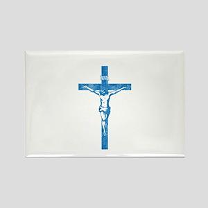 Pretty blue christian cross 5 L y Rectangle Magnet