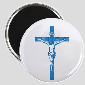 Pretty blue christian cross 5 L y Magnet