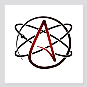 "Modern Atheist Atomic Color Square Car Magnet 3"" x"