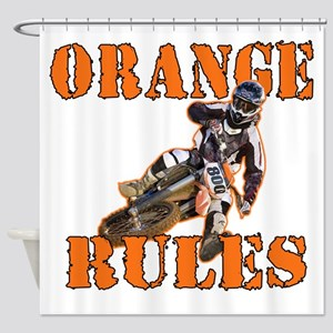Orange Rules Shower Curtain