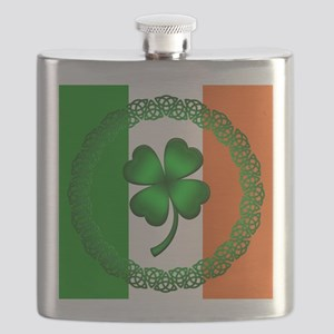 Flag and Clover Flask