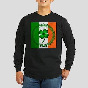 Flag and Clover Long Sleeve Dark T-Shirt