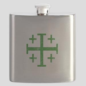 Pretty green christian cross 1 U D Flask