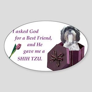 Shih Tzu (White, Black, Gray) Sticker (Rectangular