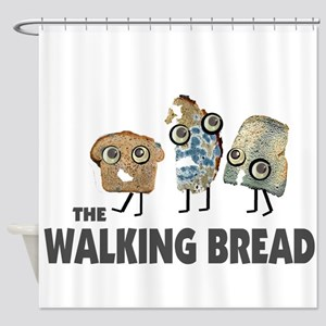 the walking bread Shower Curtain