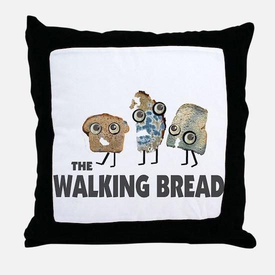 the walking bread Throw Pillow