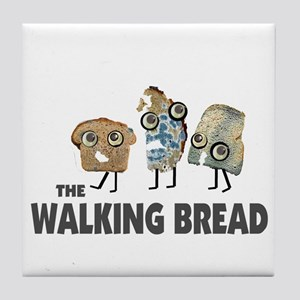 the walking bread Tile Coaster