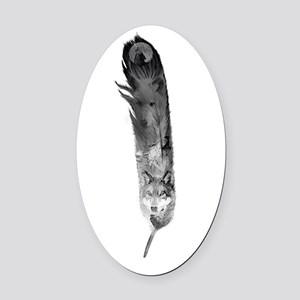 Wolf Feather Oval Car Magnet