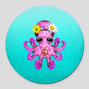 Cute Baby Octopus Hippie Round Car Magnet