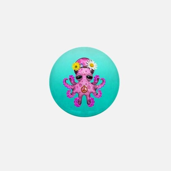 Cute Baby Octopus Hippie Mini Button