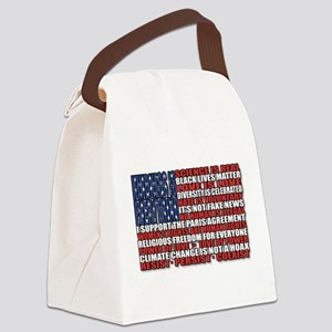 Political Protest American Flag Canvas Lunch Bag