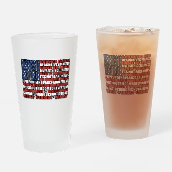 Political Protest American Flag Drinking Glass
