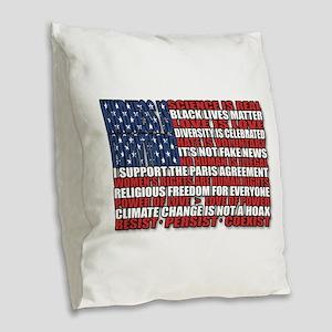 Political Protest American Fla Burlap Throw Pillow