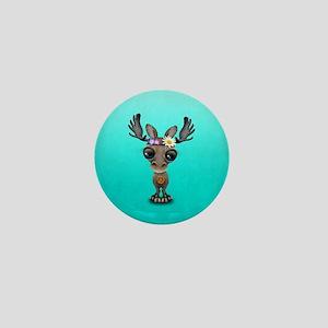 Cute Baby Moose Hippie Mini Button