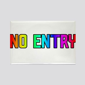 NO ENTRY RAINBOW TEXT Rectangle Magnet