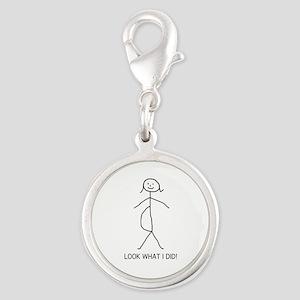 pregnant stick figure Silver Round Charm