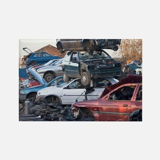 Cars in a scrapyard - Rectangle Magnet