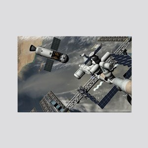 Lunar tug and the ISS, artwork - Rectangle Magnet