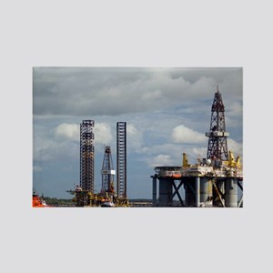 Oil drilling rigs, North Sea - Rectangle Magnet