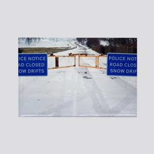 Road closed due to snow drifts - Rectangle Magnet
