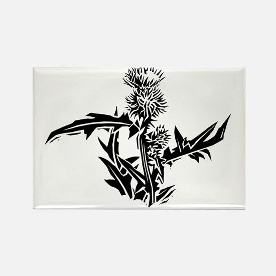 Thistle, lino print - Rectangle Magnet