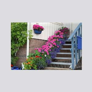 Flowers on porch stairs - Rectangle Magnet