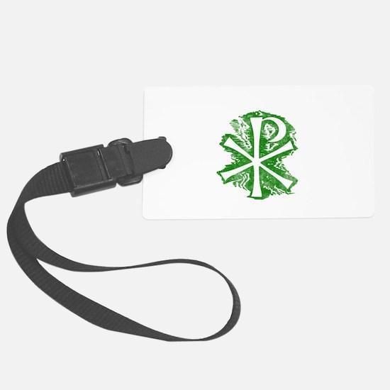 Pretty green christian cross 2 L e Luggage Tag