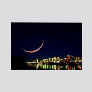 Moon over Vancouver - Rectangle Magnet
