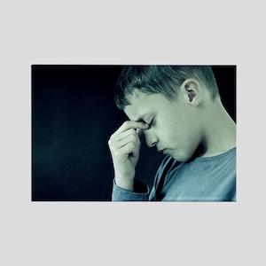 Unhappy boy - Rectangle Magnet